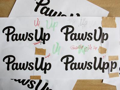 Paws Up - revised brush script process hand lettering wordmark logo design custom lettering logotype