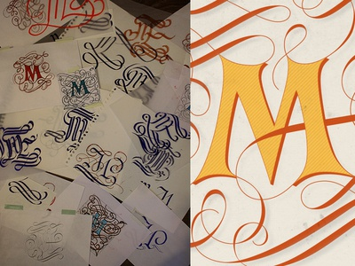 Typefight M script swashes m sketches process typefight lettering
