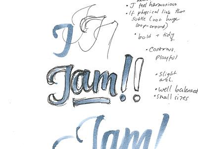 Jam! typography packaging jam label wordmark custom logo brush script script lettering logotype