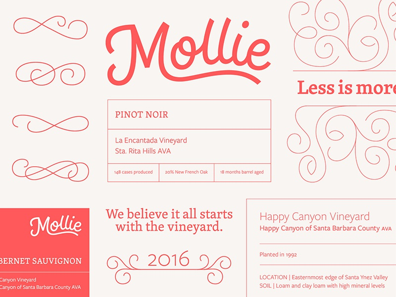 Mollie Wine Branding wine typography ornament monoline pattern script custom typography logo wordmark lettering branding logotype
