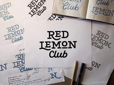 Red Lemon Club logotype work in progress vector process bold custom typography script slab serif logo wordmark lettering branding logotype