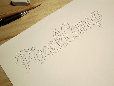 PixelCamp - Pencil logo logotype typography type lettering custom type hand drawn logo design script pencil sketch wip development draft wordmark process