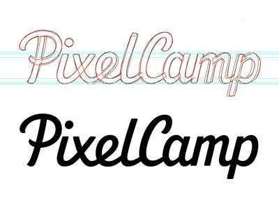 PixelCamp - Vector draft logo logotype typography type lettering custom type hand drawn logo design script wip development revisions wordmark process