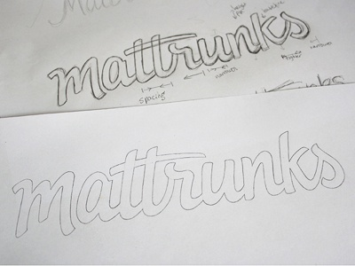 Mattrunks sketch logo logotype typography type lettering custom type hand drawn script logo design sketch illustration pencil wip development draft wordmark process