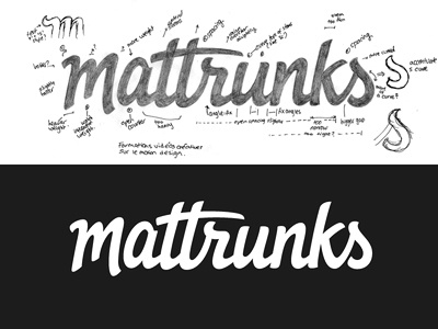 Mattrunks vector logo logotype typography type lettering custom type hand drawn script logo design wip revisions annotations pencil process wordmark