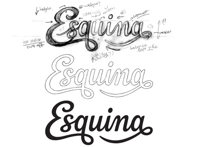 Esquina - Draft logo logotype typography type lettering custom type hand drawn script cursive pencil progress wip revisions annotations wordmark process