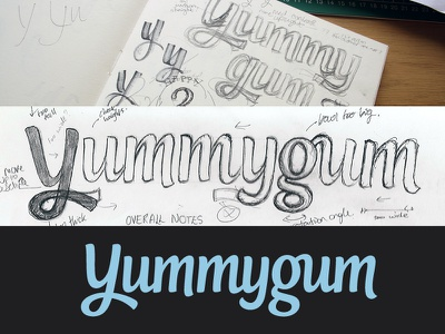Yummygum logotype logotype logo wordmark typography custom type script sketch sketchbook process lettering annotations notes