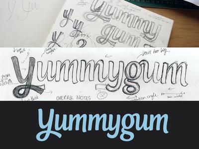 Yummygum logotype logotype logo wordmark typography custom type script sketch sketchbook process lettering annotations notes