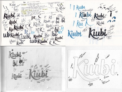 Kiubi process notes wordmark typography process annotations sketchbook sketch development drafts logo lettering custom type script logotype