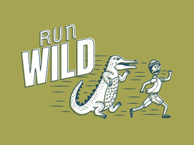Run Wild, Real Fast. handdrawn illustration pennant screenprint handrawn run wild run alligator texture poster icon design layout print vector typography art direction illustration