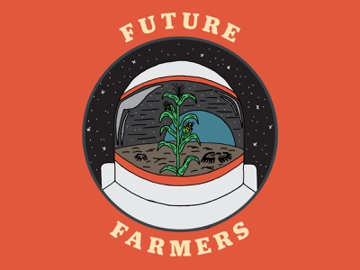 Future Farmers Poster handdrawn retro vintage farm band poster farmer astronaut space poster design layout print branding icon art direction illustration typography vector