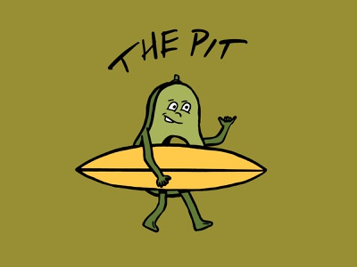 Time to get PITTED! illustrator shaka avocado surf procreate surfing poster design icon print illustration art direction typography vector