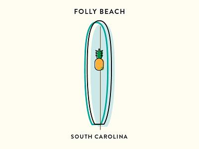 The Edge of America: Folly Beach, South Carolina beach art direction poster print vector pineapple surfboard surf
