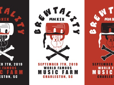 Brewtality Beer Event Poster hand rock and roll pint music crossbones charleston beer poster event flyer event branding event logo layout print art direction icon branding typography illustration vector