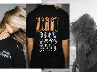 Heart Over Hype Shirts streetwear long sleeve tshirt design apparel design apparel shirt tshirt shirt design hype heart art direction branding print icon vector typography