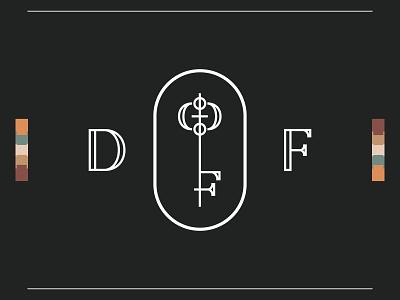DF Key Logo Concept brand identity monogram logo minimalist logo key monogram layout design logo print icon branding art direction illustration typography vector