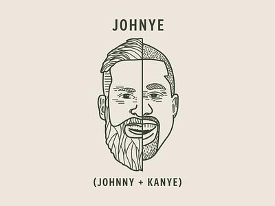 Johnye ( Johnny + Kanye) kanye west kanye poster logo design print icon branding art direction illustration vector
