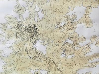 sketch based on coffee stains sketch ink imagination art illustration