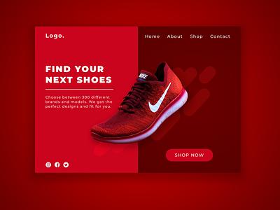 Shoe Landing page Concept webdesigns ecommerce ui ux website concept website webdesign web sketch illustration landingpage front-end development concept