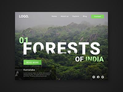 Landing page concept, Indian Forests web design landing page landingpagedesign website concept sketch ux ui webdesigns web website webdesign landingpage