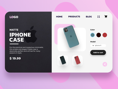 Product Page Concept for Iphone cases adobexd design front-end development ux ui website web design webdesigns webdesign website concept landingpage