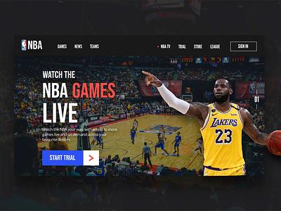 NBA Website concept for live streaming. user experience landingpagedesign website web design front-end development website concept webdesigns webdesign ux ui landingpage