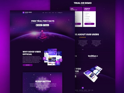 Landing Page Website Design - Meditation Mobile App