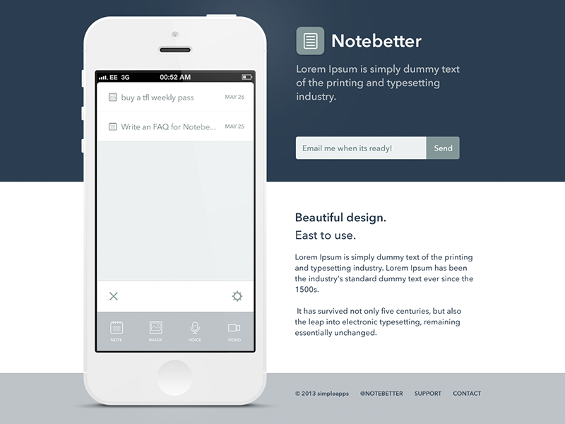 Notebetter - Landing Page by Daniel Vernon on Dribbble