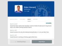 Player Modal ios mobile web news sports football design ui ux