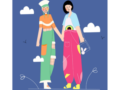 Street Style line art clothes girls friends street style style fashion trend dribble colour palette bright soft colours 2d minimalistic illustrator illustration vector flat art