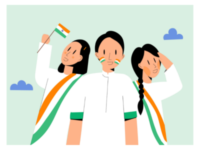 Happy Independence Day! illustrator art style soft colours flat art design india independence tricolour vector graphic minimalism colour palette art concept illustration dribble