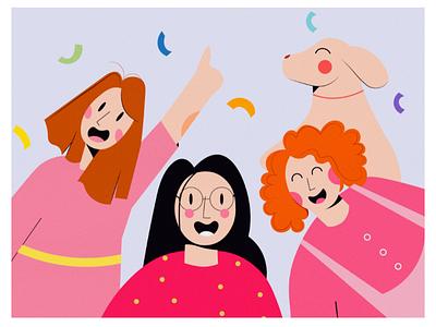 Happy Hours! illustate friends grain texture soft colours colour palette colour party happy women tint pink gradient dribble illustration flat art