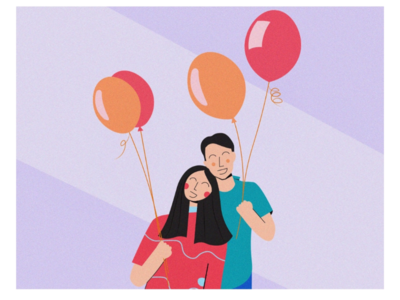 Play date balloons couple vibes mood happy bright color palette color flatartillustration illustration flatartdesign flatart grain texture design