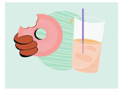 Snack Time! vector illustrator noise grain texture color palette hungry juice dribble food snacks donuts soft colours illustration flatartillustration flatart