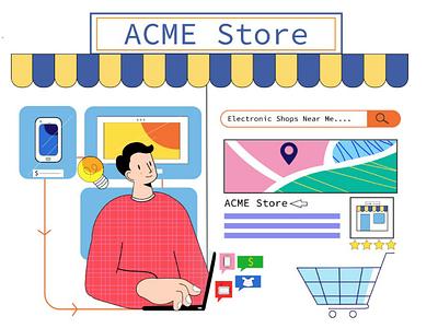 Get your business online soft tones vibrance bright colour palette website illustrations digital software marketing design flat art 2d illustration dribble illustration