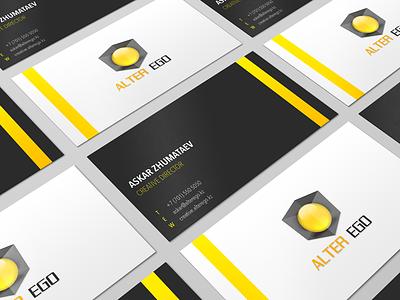 Alter Ego alterego ego alter 3d creativity design yellow black stationary identity brand logo