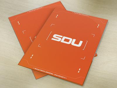 SDU Folder style techno paper orange identity branding design print university education folder