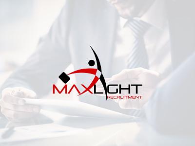 Maxlight Recruitment logo identity brand hr vacancy hire job light max recruitment maxlight