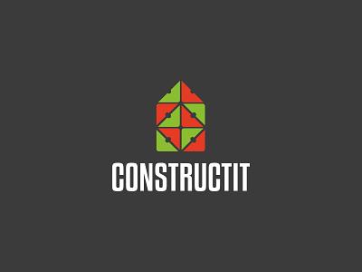 Constructit company almaty lego house home blocks construction logo identity brand