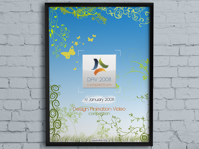 DAV 2008 logo poster wall frame photoshop brushes competition video animation design
