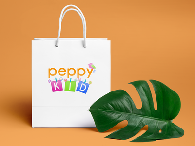 Peppy KID flowers bird design billboard bag identity logo brand kid peppy
