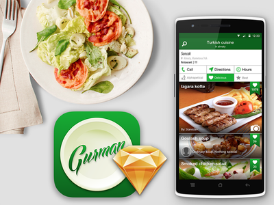 Gurman design ui ux food restaurant delicious dish gurman android app