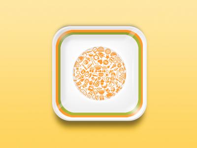 Dish cafe restaurant logo design android ios plate icon app dish