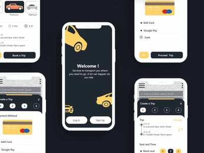 Taxi Booking App New UI Dark Theme taxi app taxi booking app car booking app car booking car sharing cab booking uber ride uber clone uber design ola uber uberapps androidapp uidesign ondemand application appdeveloper uxuidesign appdesign mobileapp
