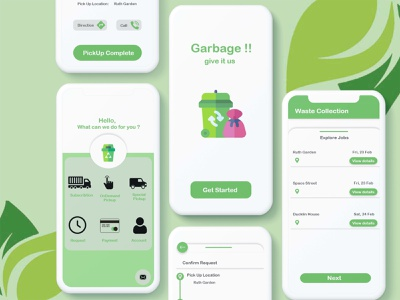 Waste Collection App Concept 2021 waste wasteland waste carring waste management ui androidapp onlineapp appmaker uidesign ondemand appdeveloper uxuidesign appdesign mobileapp