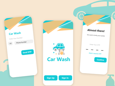 Car Wash Application washing cleaning carcleaning dailyui uiuxdesign application design car carwashing carwash application uberapps androidapp uidesign ondemand appdeveloper uxuidesign appdesign mobileapp