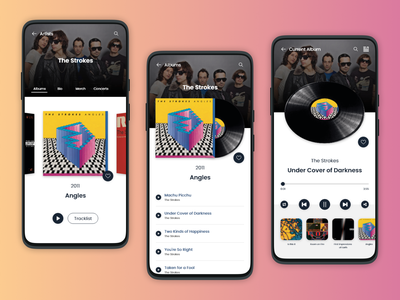 Vinyl Music Player - App UI Concept concept design the strokes mobile ui mobile app ui album cover adobe xd app design concept music app music player music vinyl