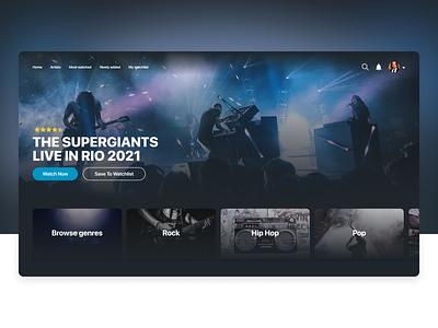 Live Show Streaming Platform - Concept UI 4k ui concept rebound concert performance music prototype tv ui design concept streaming live show framer