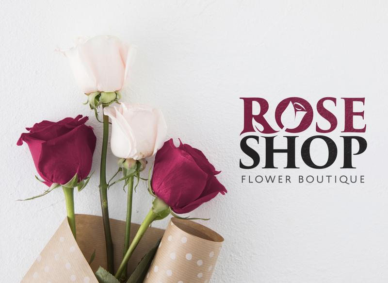ROSE SHOP | Flower Boutique minimal illustration design negative space logo logo graphic design branding