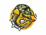 bulldog army mascot character vector esport soldier army dog bulldog logo mascot design cartoon mascot illustration logo